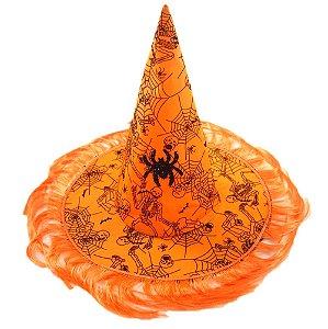 Chapéu de Bruxa Estampado e Com Franja Halloween