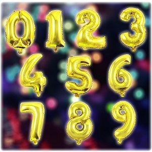 Balão Metalizado Números | 35cm | Dourado | Kit C/65