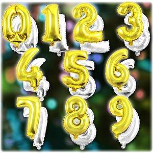 Balão Metalizado Números 35cm | Dourado e Prata | Kit C/130