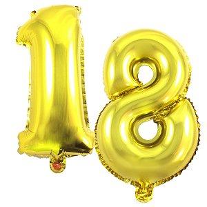 Kit Balão Metalizado 35cm | 18 Anos | Dourado