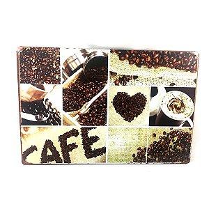 Placa em Metal Grãos de Café