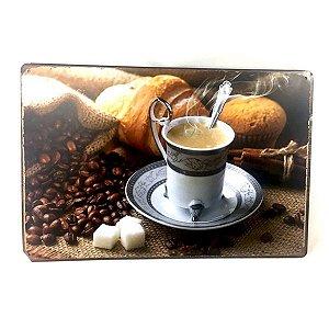Placa em Metal Xicará de Café