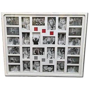 Quadro Branco com 28 Fotos 10x15
