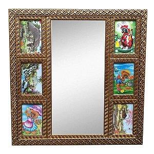 Quadro Dourado com Espelho e 6 Fotos 10x15