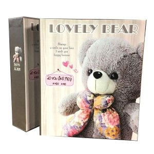 "Álbum de Fotografia ""Lovely Bear"" Prata Para 80 Fotos"