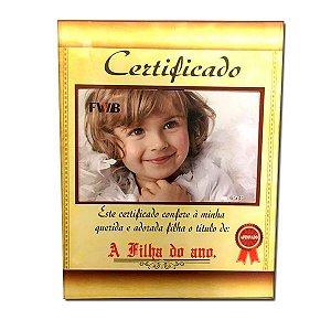 Porta Retrato Vidro Certificado A Filha do Ano 10x15
