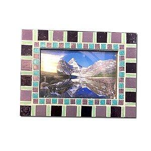 Porta Retrato Pendurável Pedra Mosaico Roxo 10x15