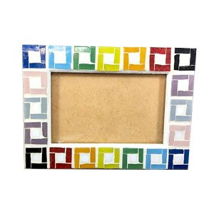 Porta Retrato Pendurável Pedra Mosaico Colorido 10x15