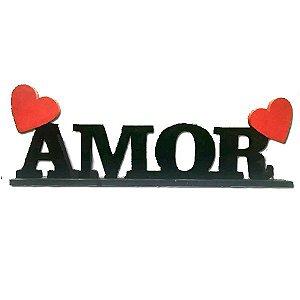 Letreiro Madeira Preto Amor e Corações