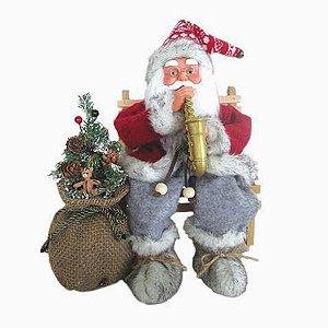 Enfeite Natal Papai Noel Sentado com Saxofone 30cm