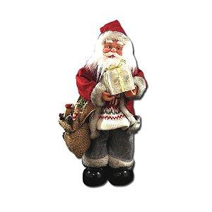 Enfeite Natal Papai Noel Com Caixa de Presente 35cm
