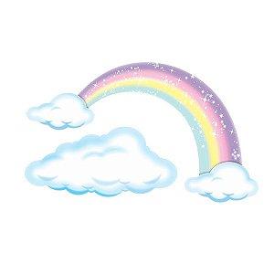Painel Decorativo Arco-íris e Nuvens Grande