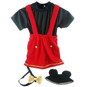 Fantasia Infantil Mickey Completa com Orelha e Laço C/03