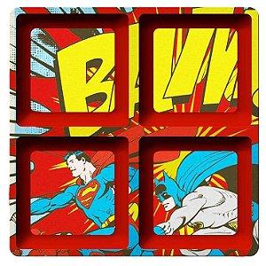 Petisqueira Quadrada Super-Man e Batman   Melamina