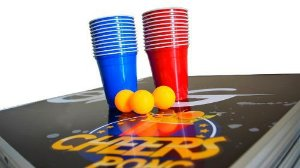 Kit Beer Pong C/3 Bolas e 50 Copos Red e Blue
