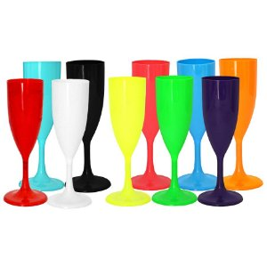 Kit Taças de Champanhe Acrílicas Colors | C/50