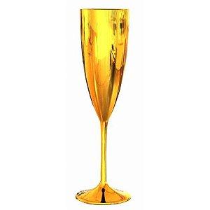 Taça de Champanhe Acrílica Prime Luxo Unitária | Dourada