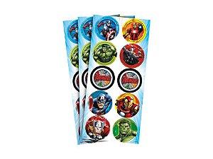 Adesivo Redondo Vingadores Avengers Animated C/30
