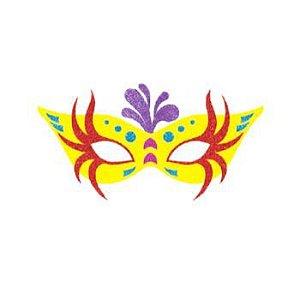 Painel Decorativo Máscara de Carnaval Amarela | EVA