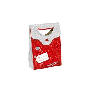 Sacola Pequena Vermelha Coração - com Glitter
