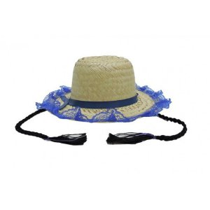Chapéu de Palha Trança C/ Renda