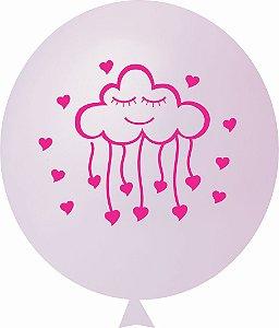 Balão / Bexiga N11 Chuva de Amor Rosa Bebê | C/25