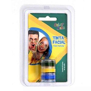 Tinta Cremosa C/3 | Verde, Amarelo e Azul | Color Make