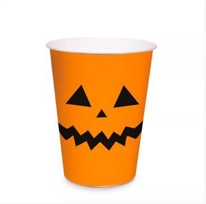 Copo de Papel Halloween Abóbora 240ml C/8