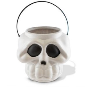 Balde Esqueleto / Caveira Halloween Grande | Kit Branco C/10