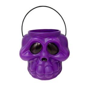 Balde Esqueleto / Caveira Halloween Grande | Kit Roxo C/10
