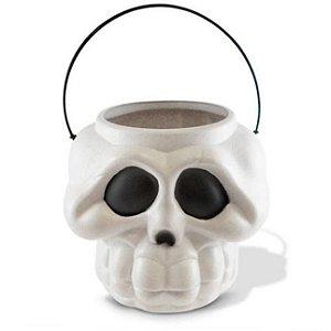 Balde Esqueleto / Caveira Halloween Pequeno Kit Branco C/20