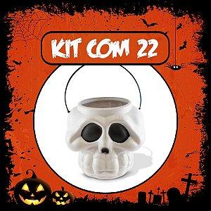 Balde Esqueleto / Caveira Halloween Pequeno Kit Branco C/22