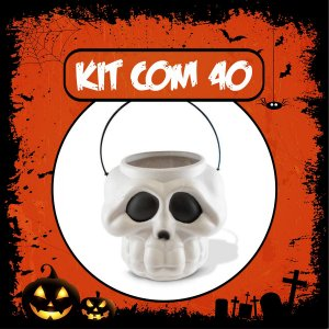 Balde Esqueleto / Caveira Halloween Pequeno Kit Branco C/40