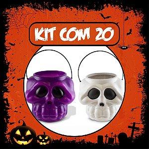 Balde Esqueleto / Caveira Halloween Pequeno Kit Misto C/20