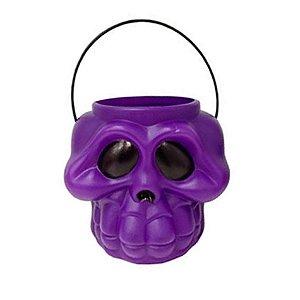 Balde Esqueleto / Caveira Halloween Pequeno Kit Roxo C/22