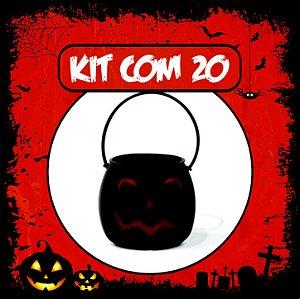 Balde Abóbora Halloween Pequeno | Kit Preto C/20