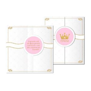 Convite Chá de Bebê Coroa Princesa Menina C/08 | Junco