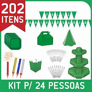 Kit Descartáveis Para Festa | Cor Verde | P/ 24 Pessoas