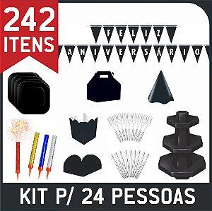 Kit Descartáveis Para Festa | Cor Preta | P/ 24 Pessoas