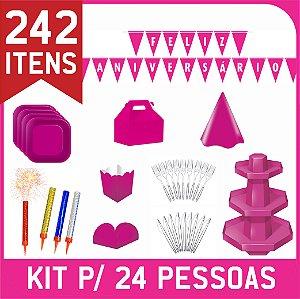 Kit Descartáveis Para Festa | Cor Rosa Pink | P/ 24 Pessoas
