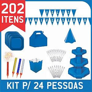 Kit Descartáveis Para Festa | Cor Azul Royal | P/ 24 Pessoas