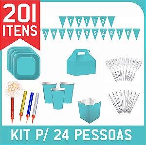 Kit Descartáveis Para Festa | Azul Turquesa | P/ 24 Pessoas