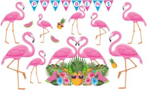 Kit Painel Impresso em E.V.A. Flamingo | 21 Itens