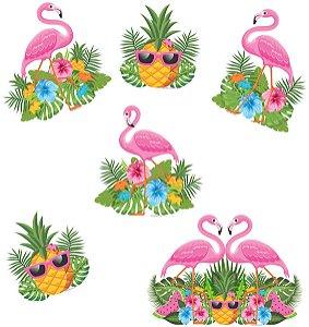 Kit Painel Impresso em E.V.A Flamingo Pequeno | 6 Itens