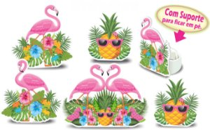 Kit Enfeite Impresso em E.V.A. Flamingo | 6 Itens