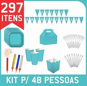 Kit Descartáveis Para Festa | Azul Turquesa | P/48 Pessoas