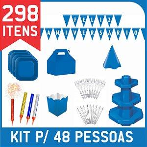 Kit Descartáveis Para Festa | Cor Azul Royal | P/48 Pessoas