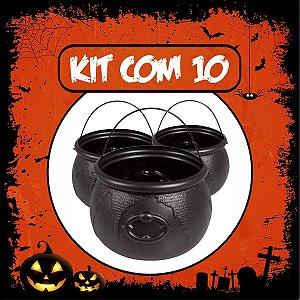 Balde Caldeirão Halloween Grande Kit C/10