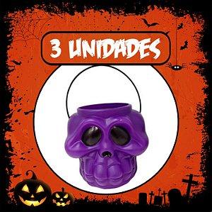Balde Esqueleto / Caveira Halloween Roxo Grande | Kit C/3