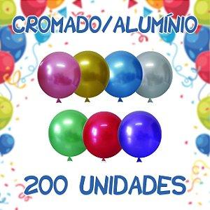Balão/Bexiga Happy Day Cromado Alumínio N5'' 200 Un Sortidas